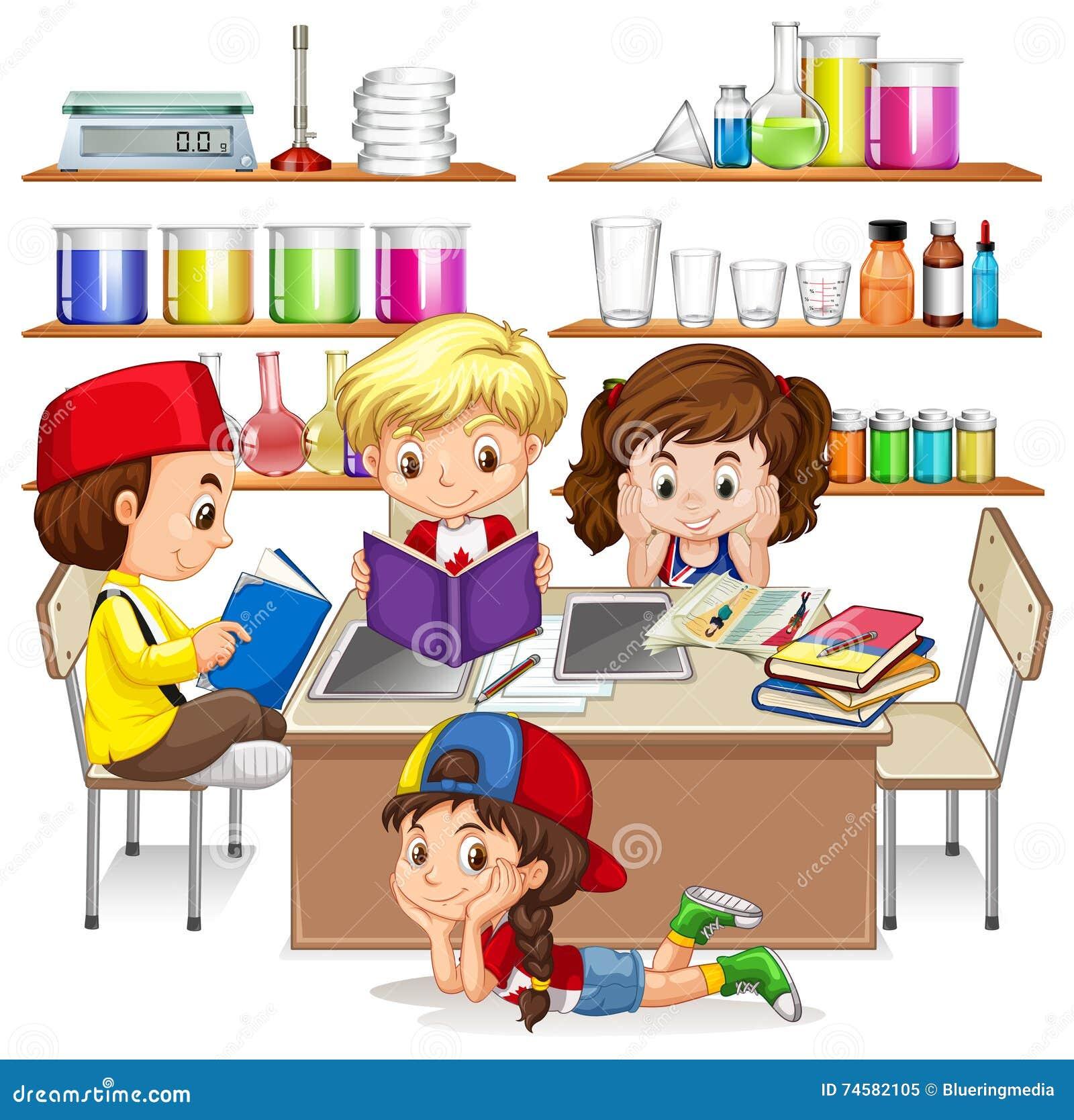 Bambini che leggono e che studiano nell 39 aula illustrazione - Immagini di cicogne che portano bambini ...