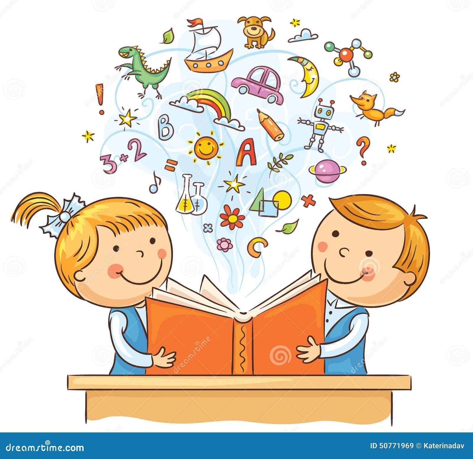 Bambini Che Leggono Insieme Un Libro Illustrazione Vettoriale