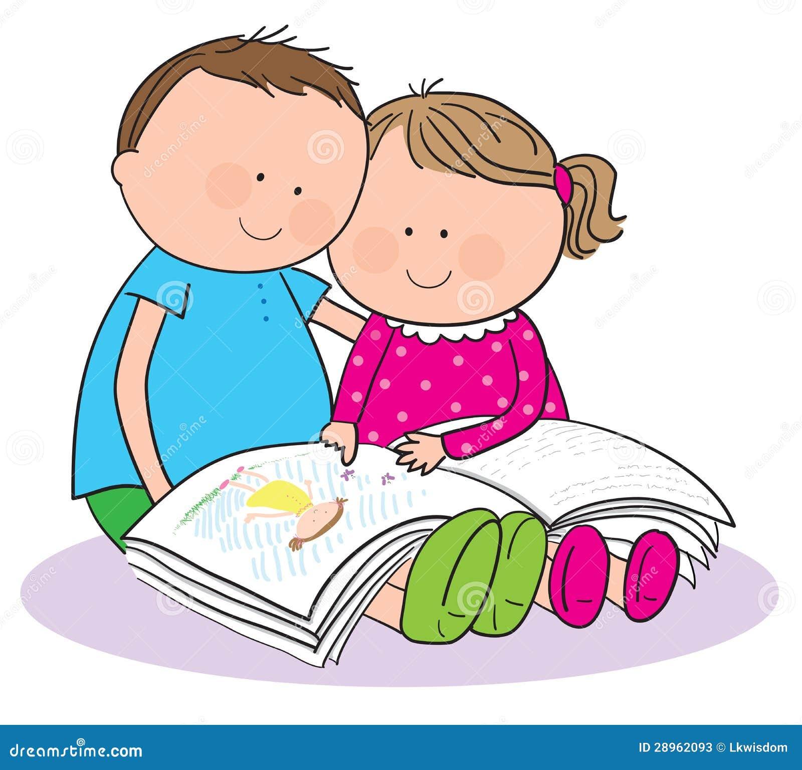 Bambini Che Leggono Un Libro Illustrazione Vettoriale