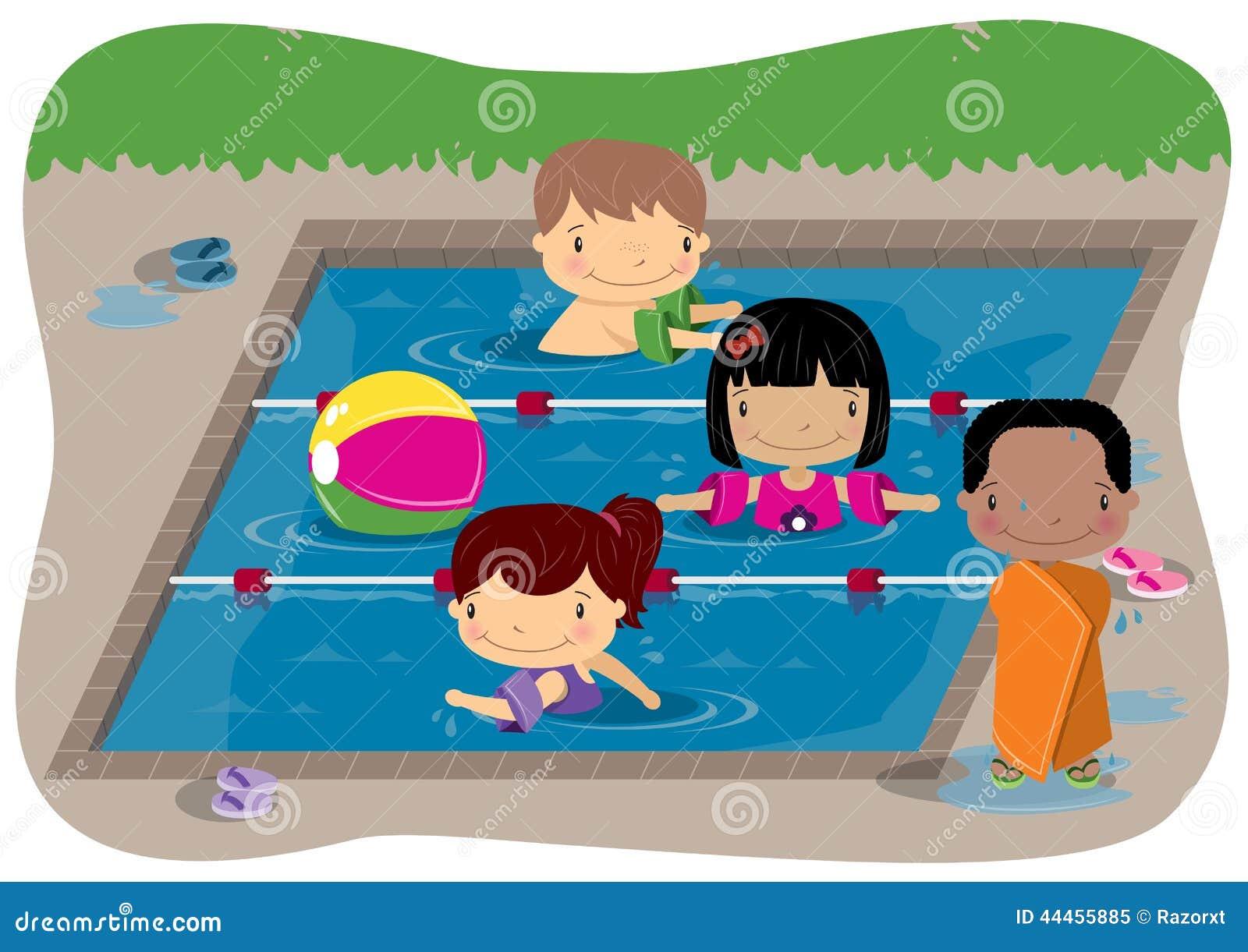 Bambini che nuotano illustrazione vettoriale immagine di - Corsi per neonati in piscina ...
