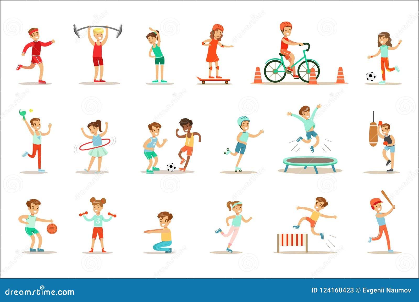 Bambini che praticano gli sport e le attività fisiche differenti nella palestra della classe di educazione fisica ed all aperto G