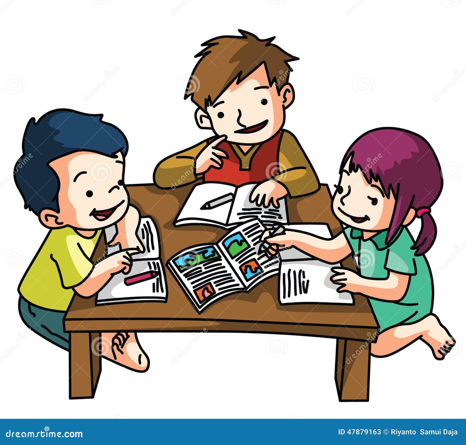 Bambini che studiano insieme illustrazione vettoriale - Immagini di cicogne che portano bambini ...
