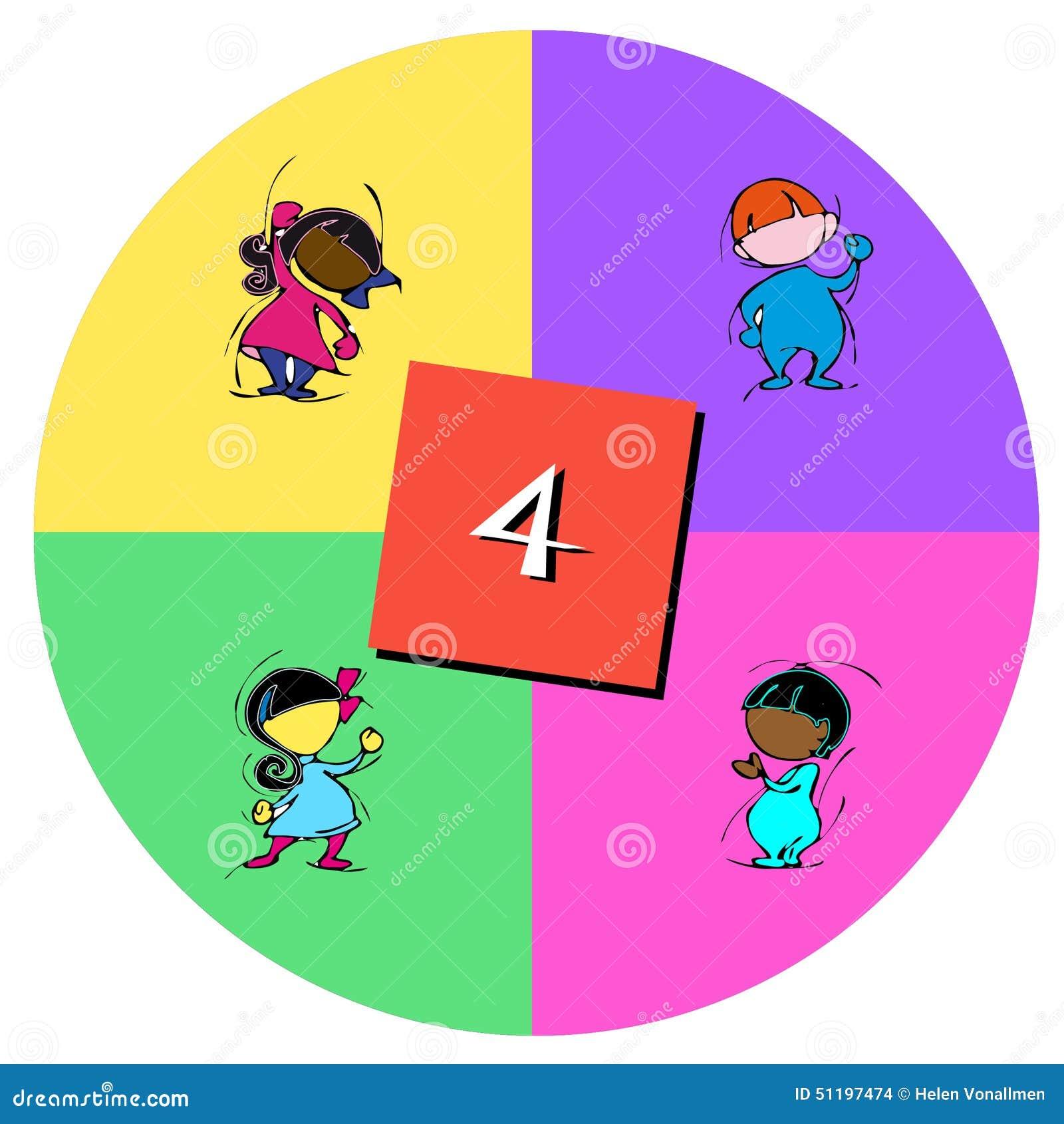 Bambini con il numero quattro