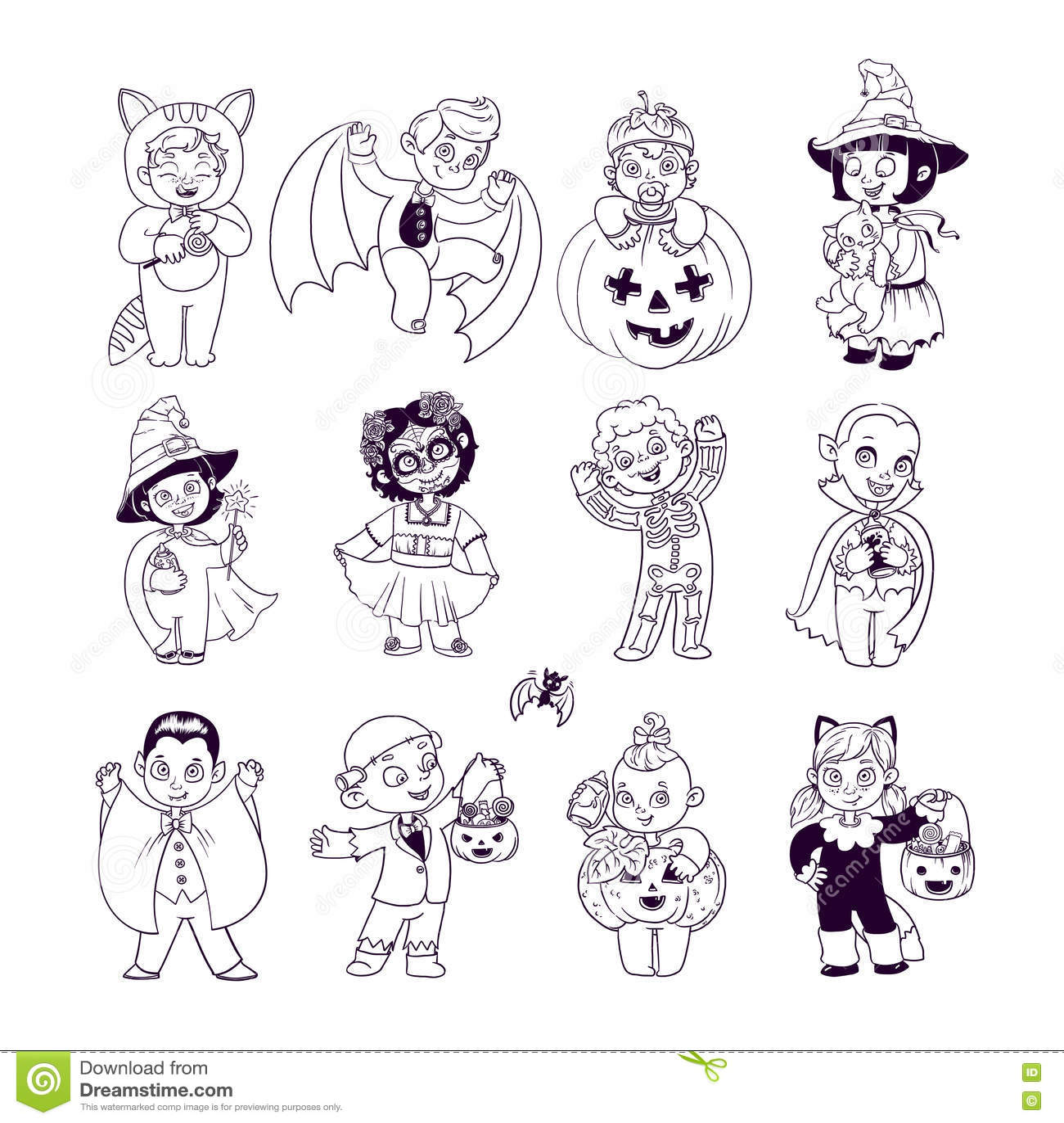 Bambini In Costumi Di Halloween Libro Da Colorare Di Halloween
