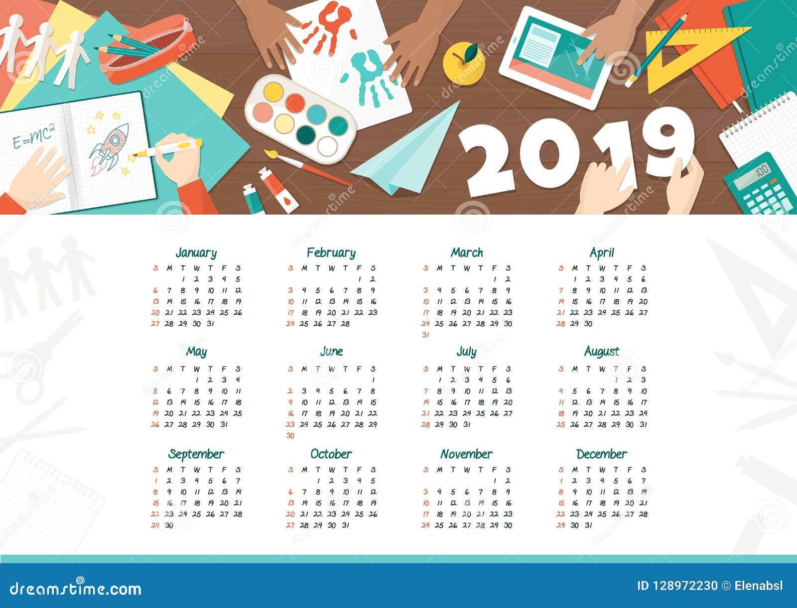 Bambini Creativi Al Calendario 2019 Della Scuola Illustrazione