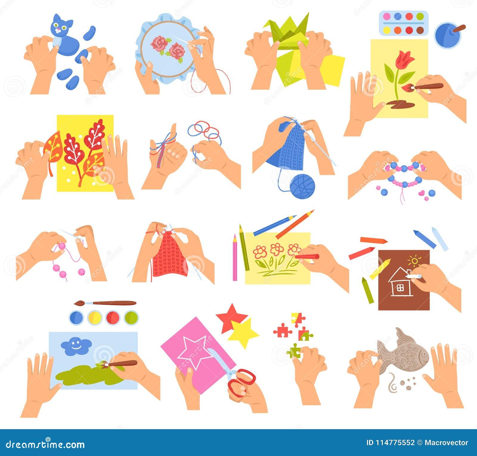 Bambini Creativi Messi Illustrazione Vettoriale Illustrazione Di