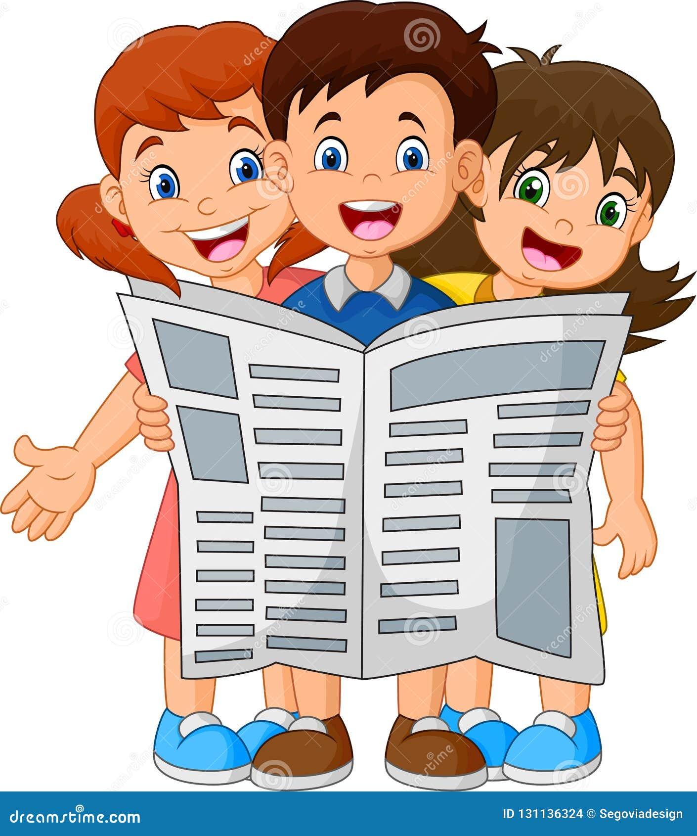 Bambini del fumetto che leggono un giornale