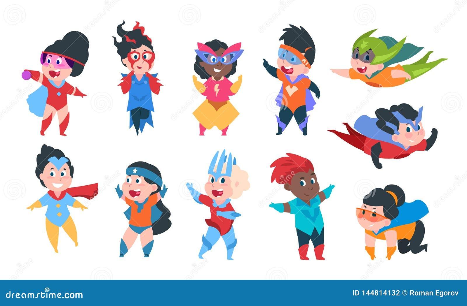 Bambini del supereroe Caratteri in costumi comici del supereroe, gioco sveglio dei ragazzi e delle ragazze del fumetto dei bambin