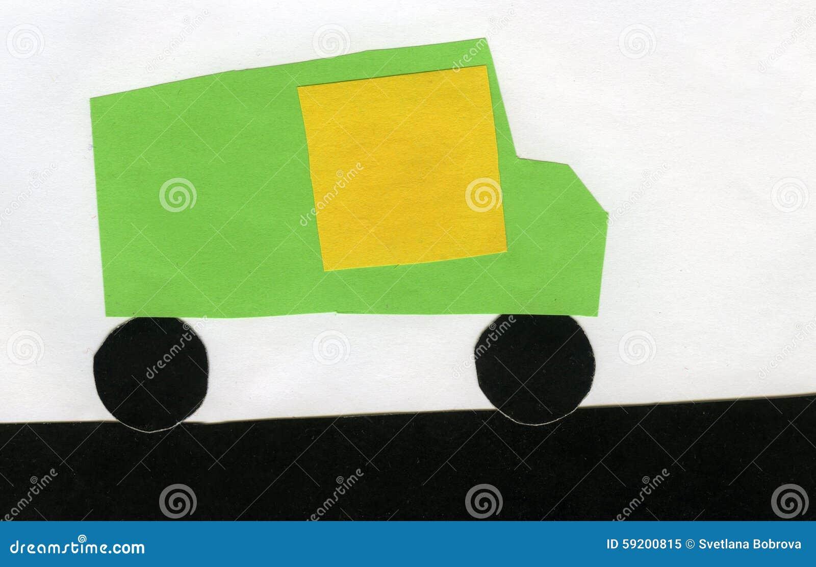 Bambini dell automobile di carta di applique illustrazione di