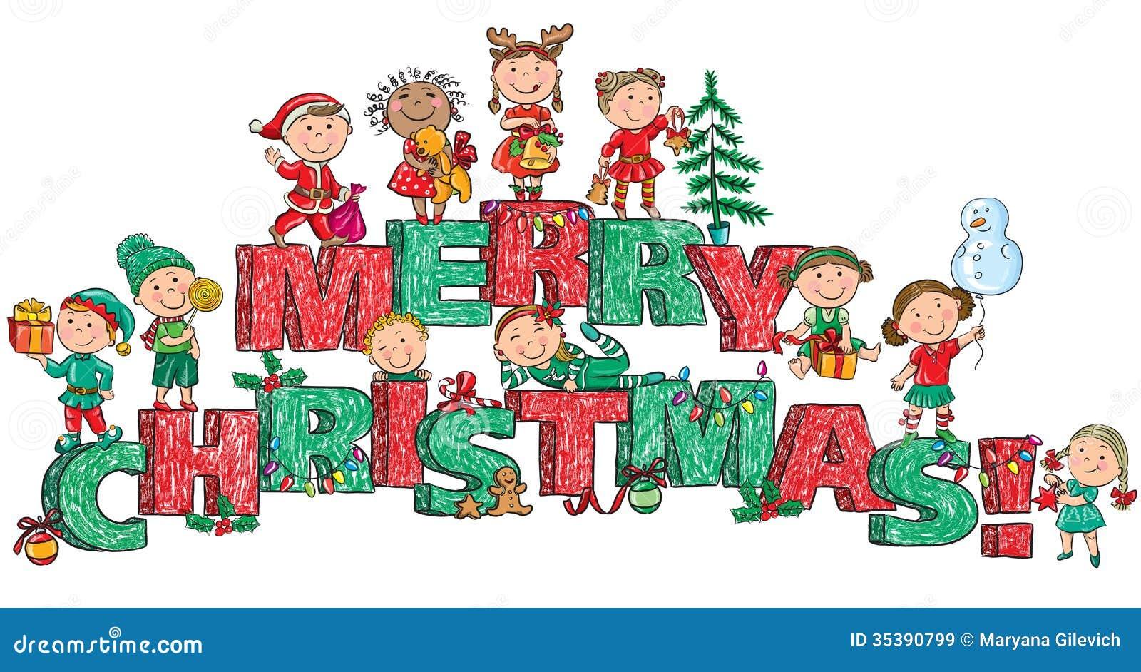 Buon Natale Bambini.Bambini Di Buon Natale Sulle Lettere Illustrazione Vettoriale