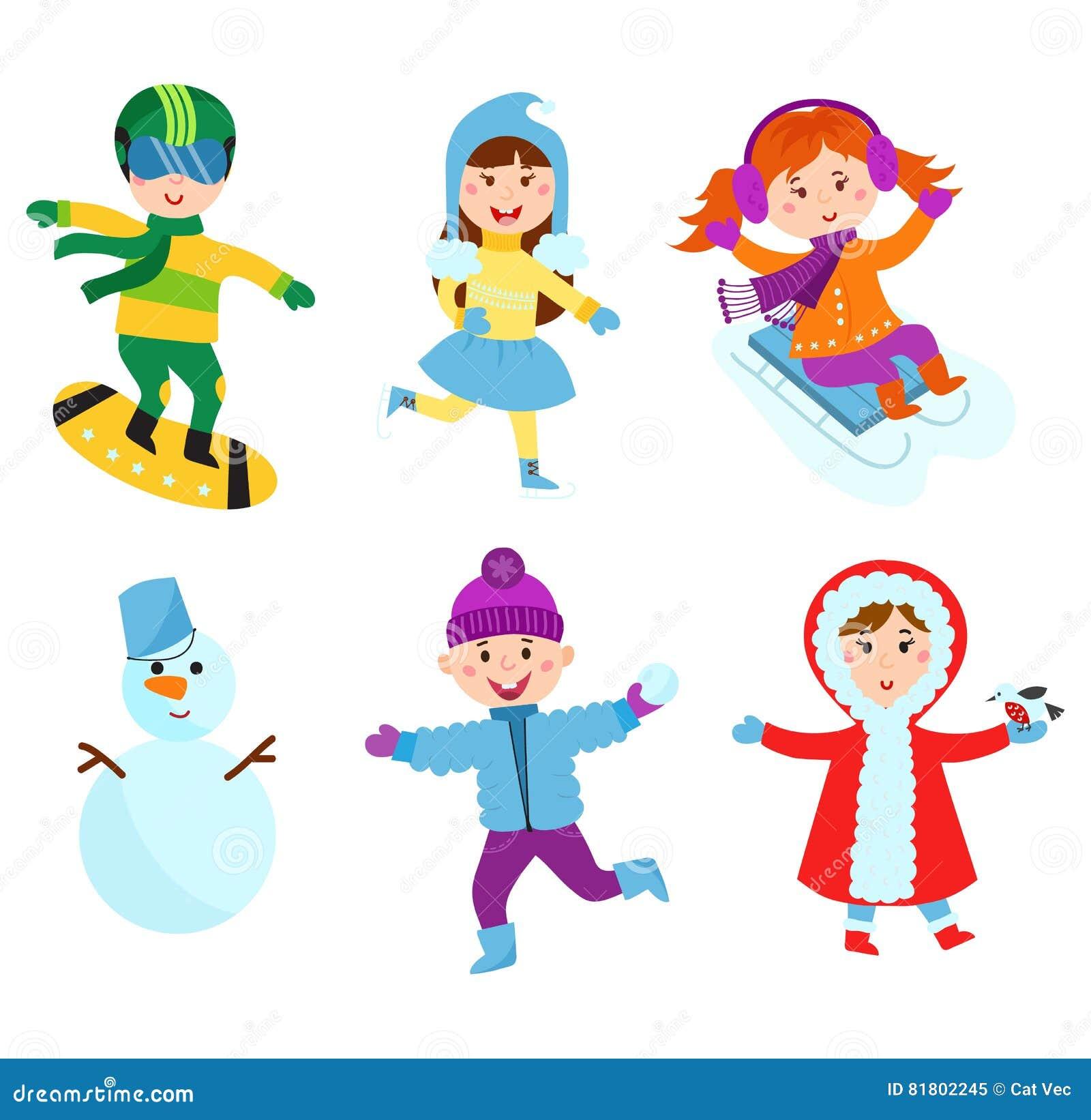 Immagini Dei Giochi Di Natale.Bambini Di Natale Che Giocano Vettore Dei Giochi Di Inverno