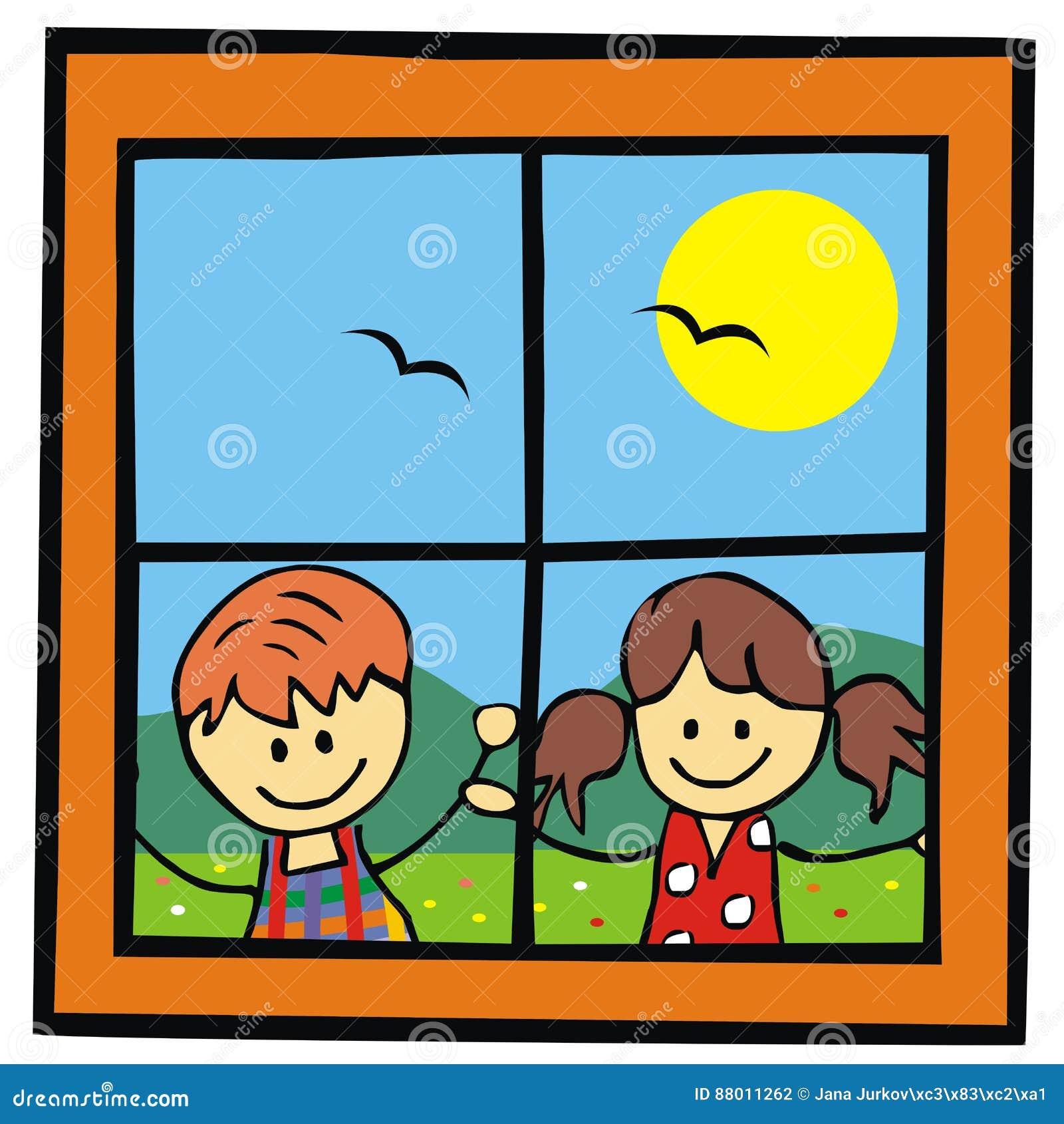 Bambini e finestra illustrazione vettoriale illustrazione for Finestra rinascimentale disegno