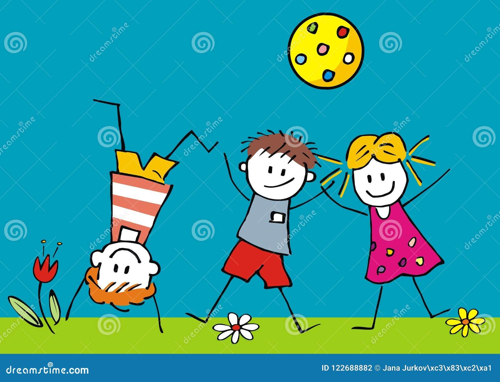 Bambini E Palla Felici Sul Prato Illustrazione Di Vettore