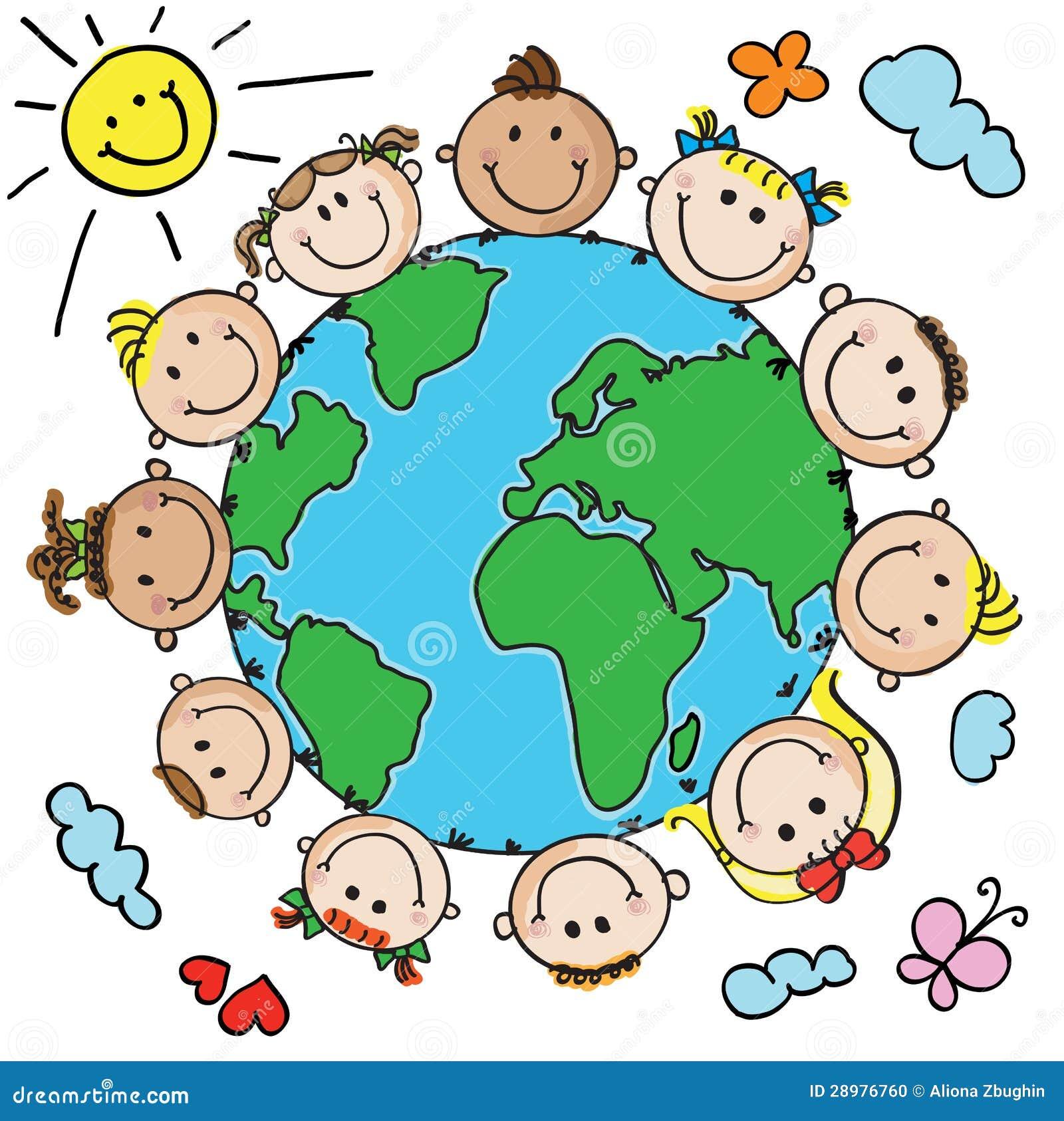 bambini e pianeta illustrazione vettoriale illustrazione
