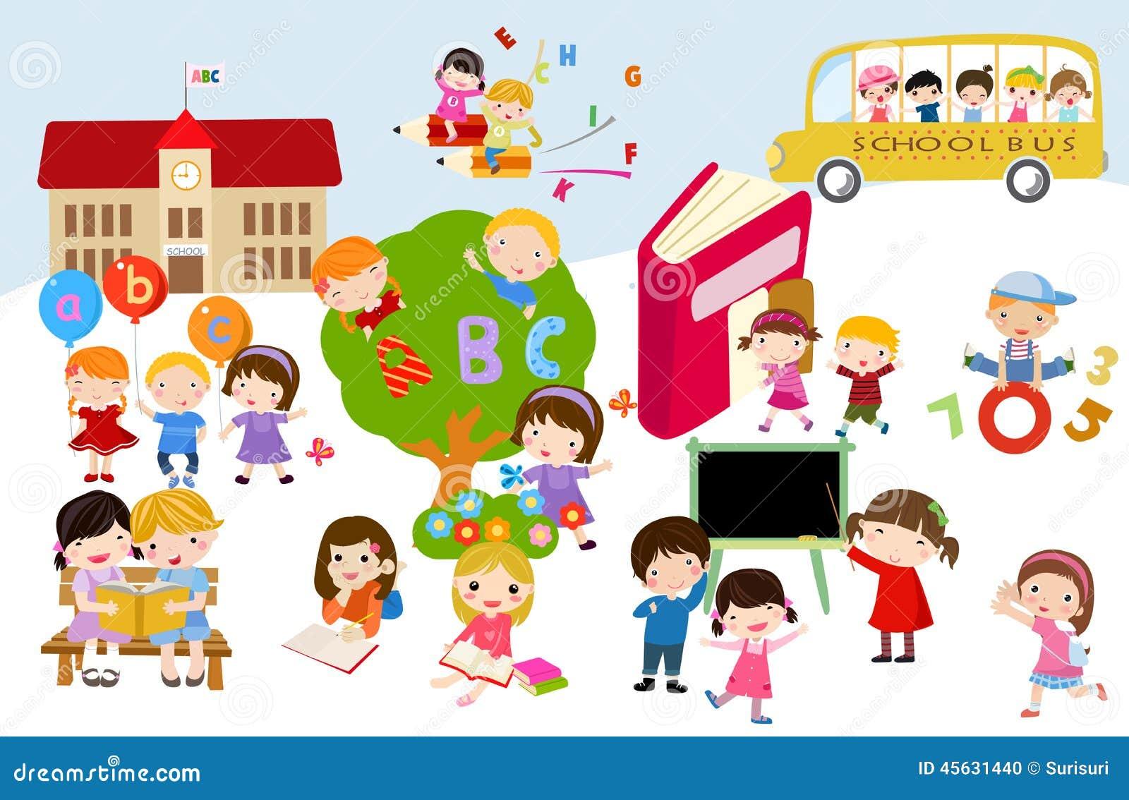 Bambini e scuola illustrazione vettoriale illustrazione for Scuola clipart