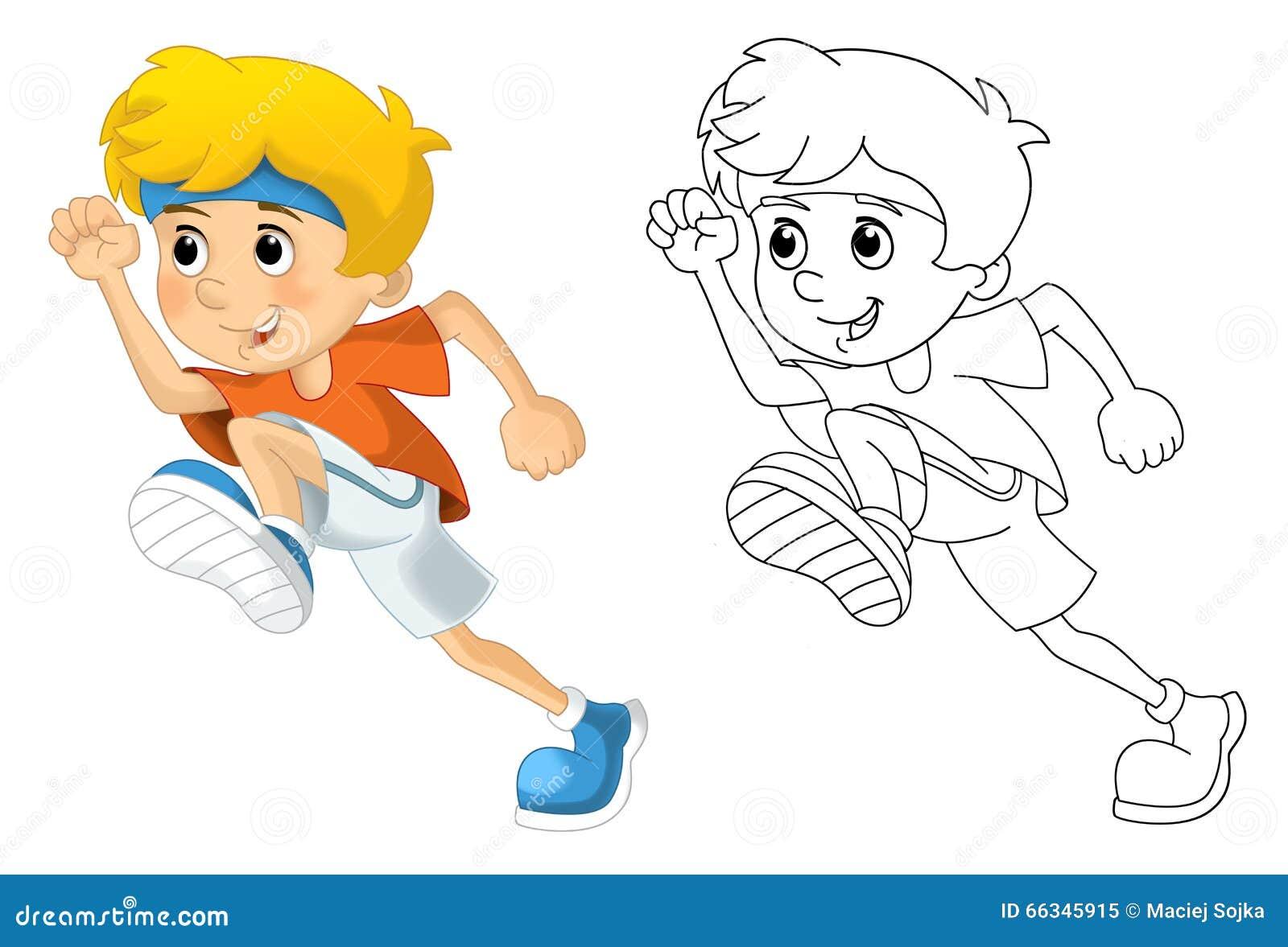 Bambini E Sport Ginnastica Che Corrono Pagina Di Coloritura