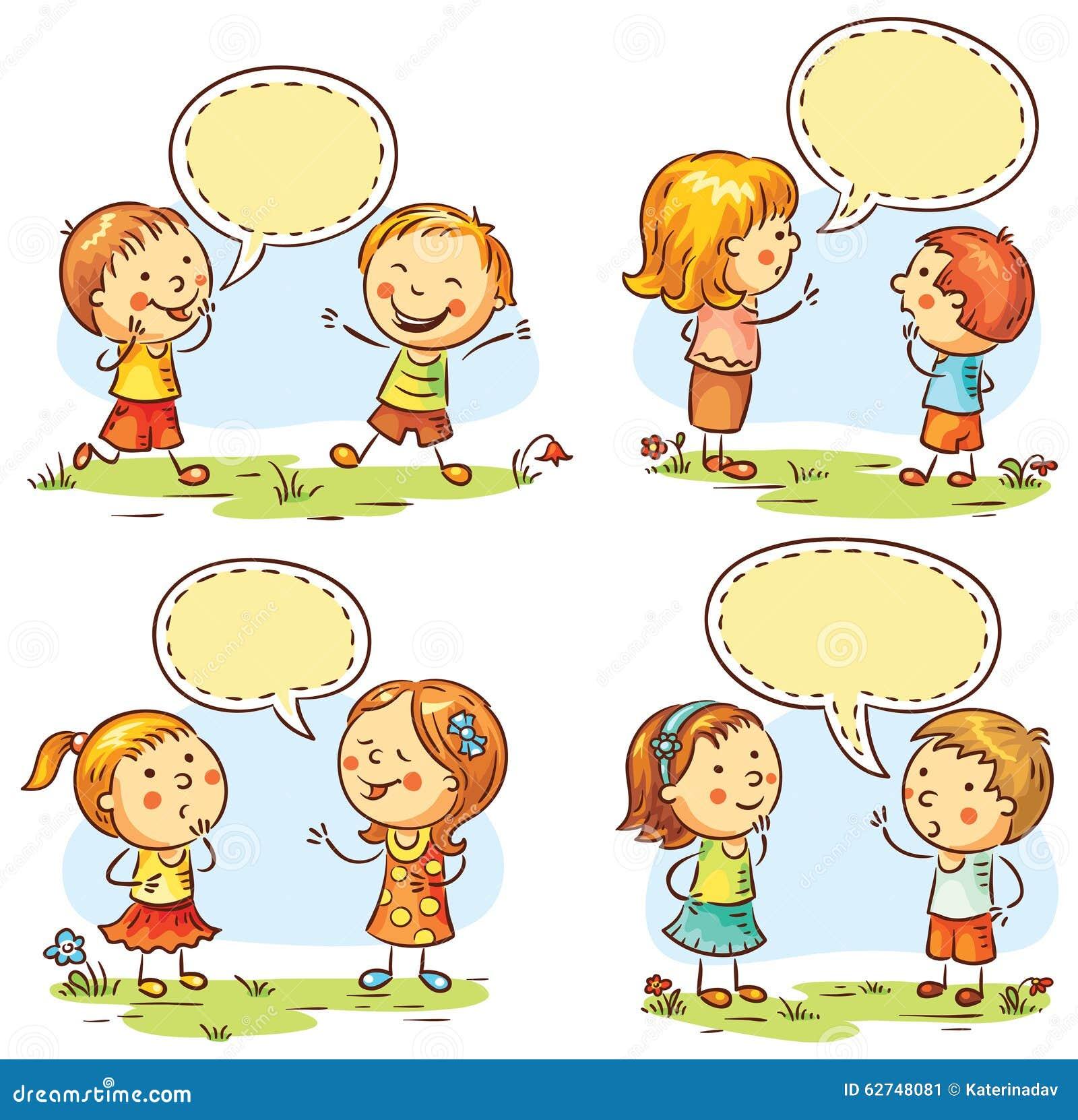 Disegno Bambini Che Parlano.Bambini Felici Che Parlano E Che Mostrano Le Emozioni Differenti