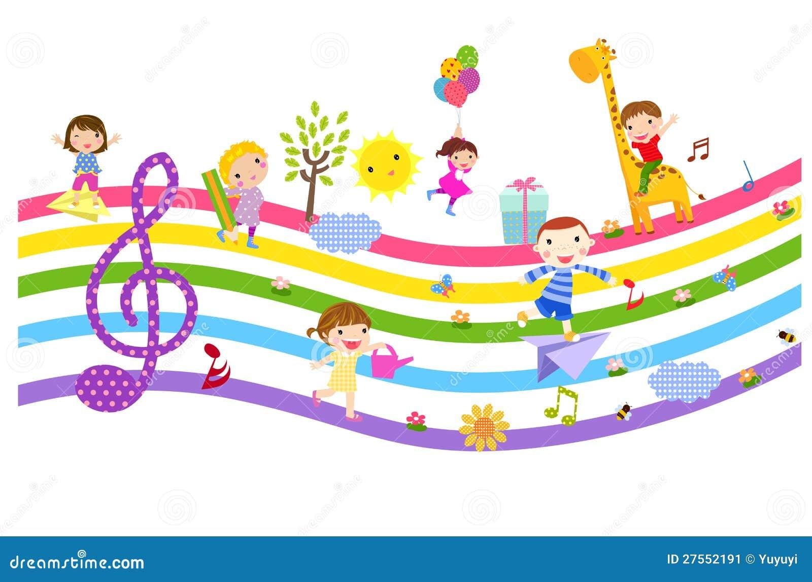 Gruppo di bambini felici svegli e di musica - illustrazione.