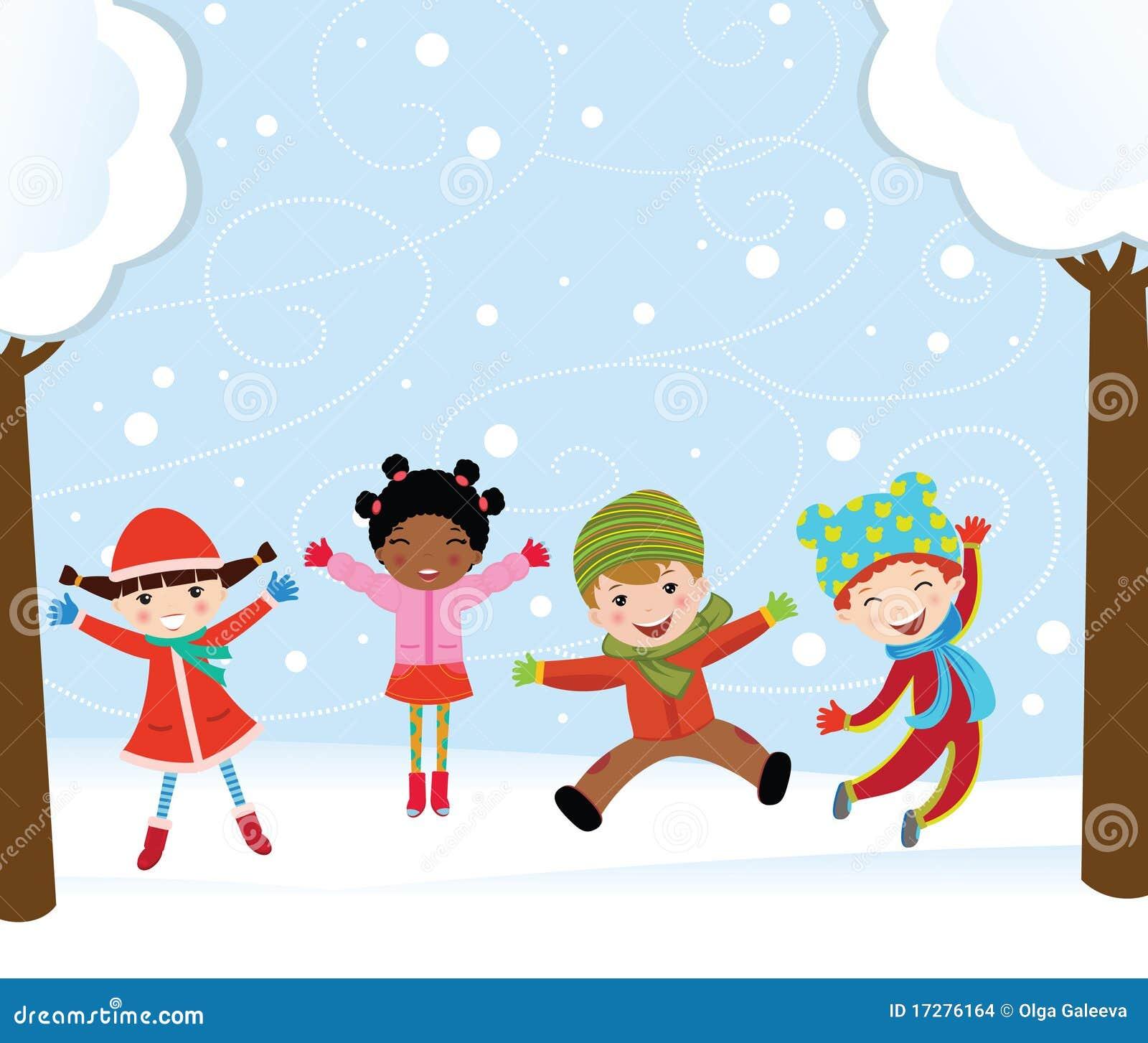 Bambini felici in inverno immagini stock immagine 17276164 - Animali in inverno clipart ...