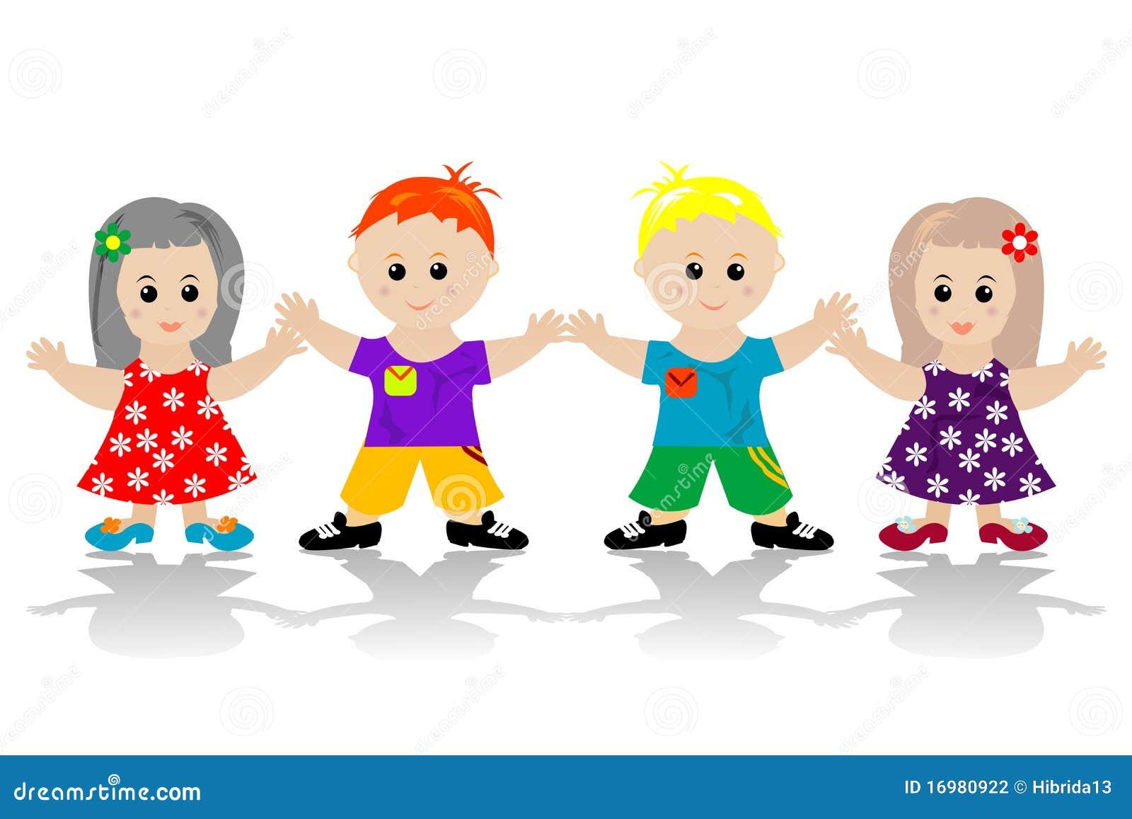 Bambini Felici Stilizzati Illustrazione Di Stock Illustrazione Di