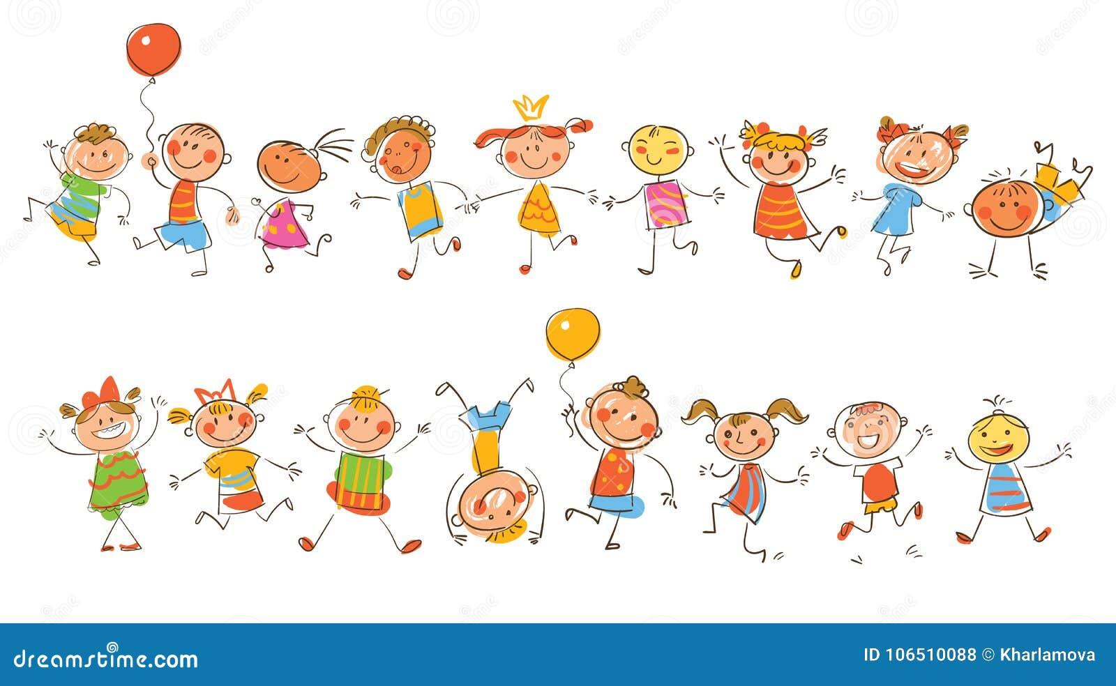 Bambini Felici Svegli Nello Stile Dei Disegni Del S Dei Bambini