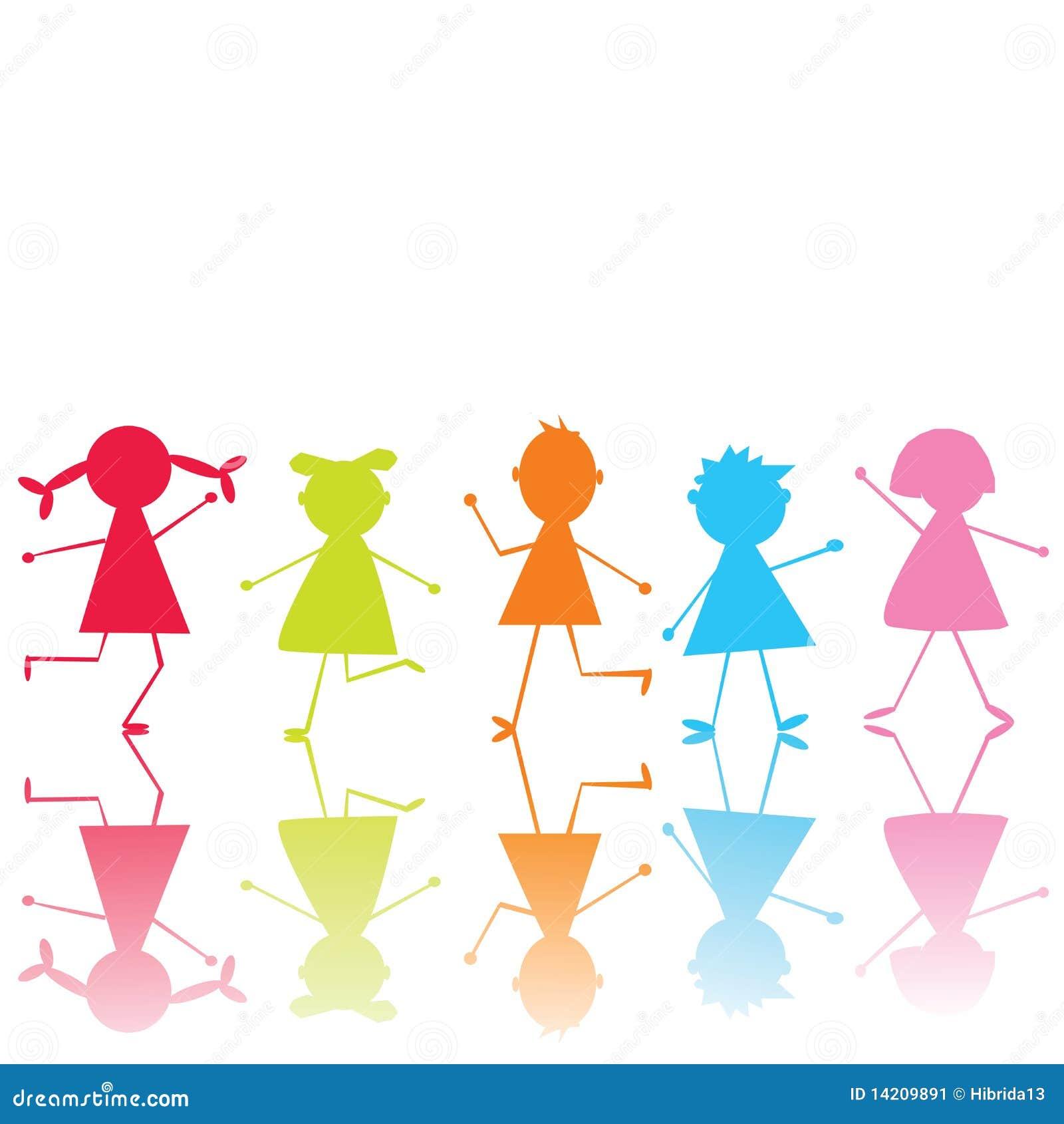 Bambini Stilizzati Colorati Illustrazione Di Stock Illustrazione