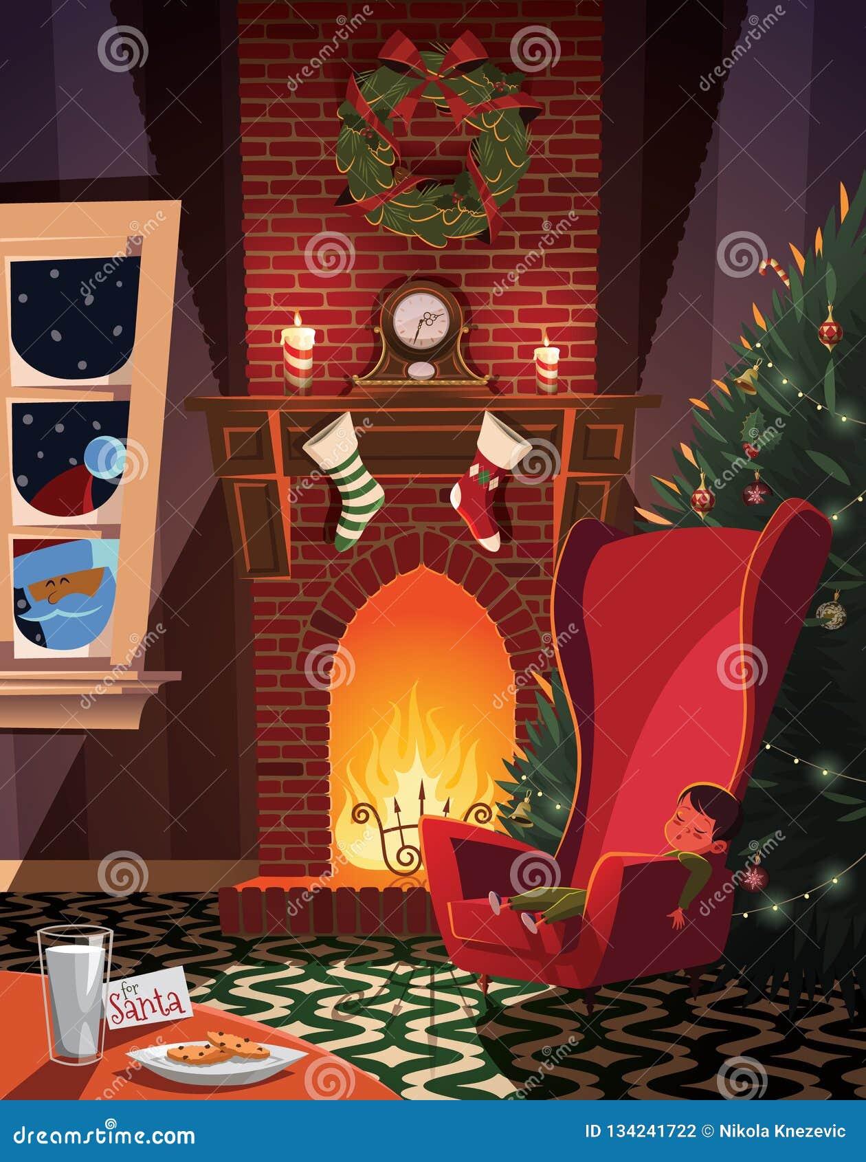 Bambino addormentato Santa aspettante nella stanza decorata natale