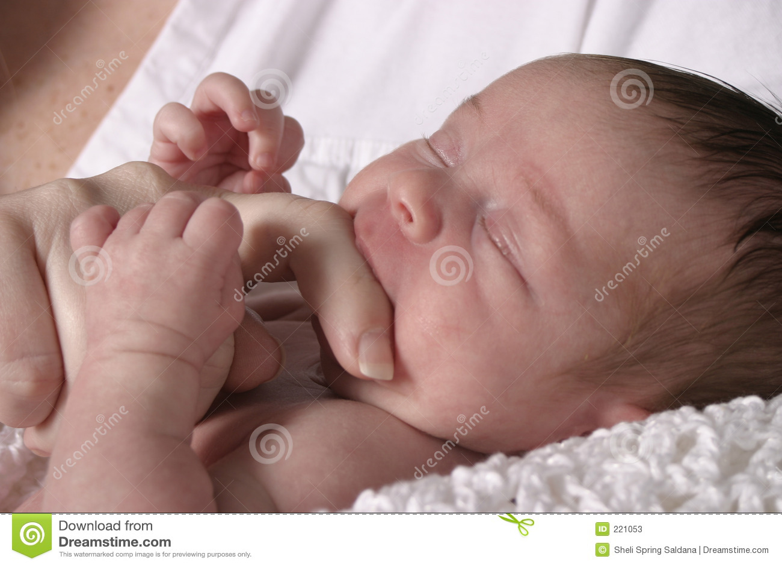 Bambino che succhia sulla barretta della madre