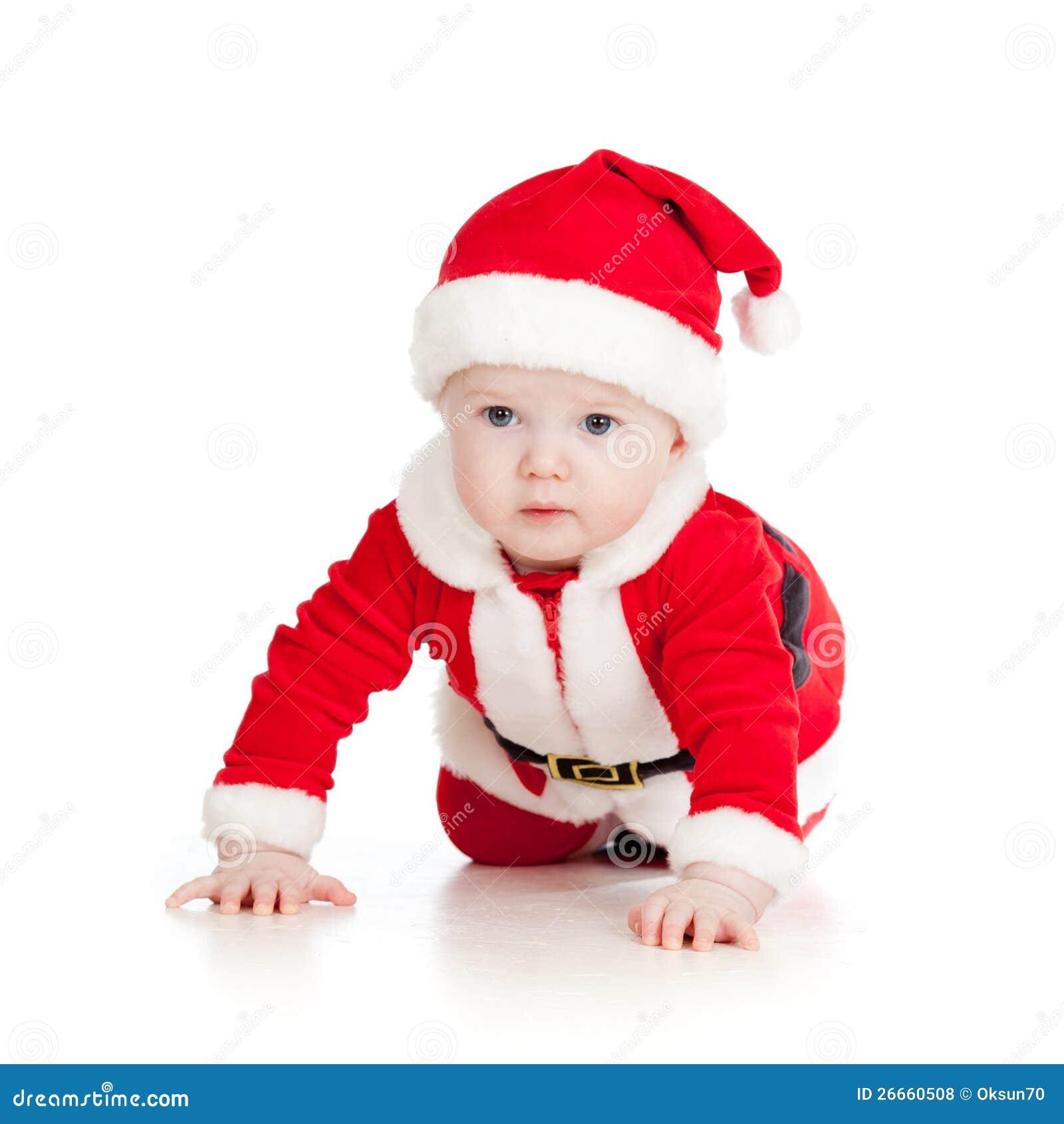 Bambino del bambino di natale vestito come Babbo Natale sopra bianco 52683804a0f