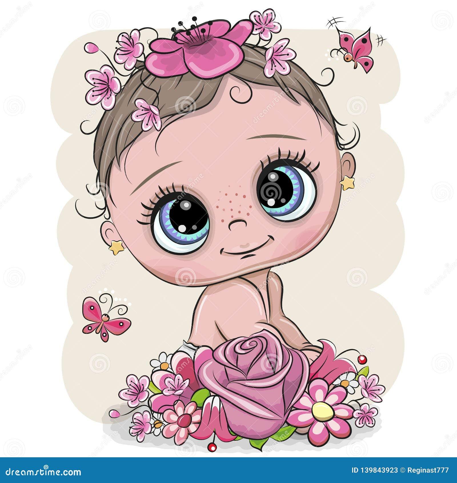 Bambino del fumetto con flowerson un fondo bianco