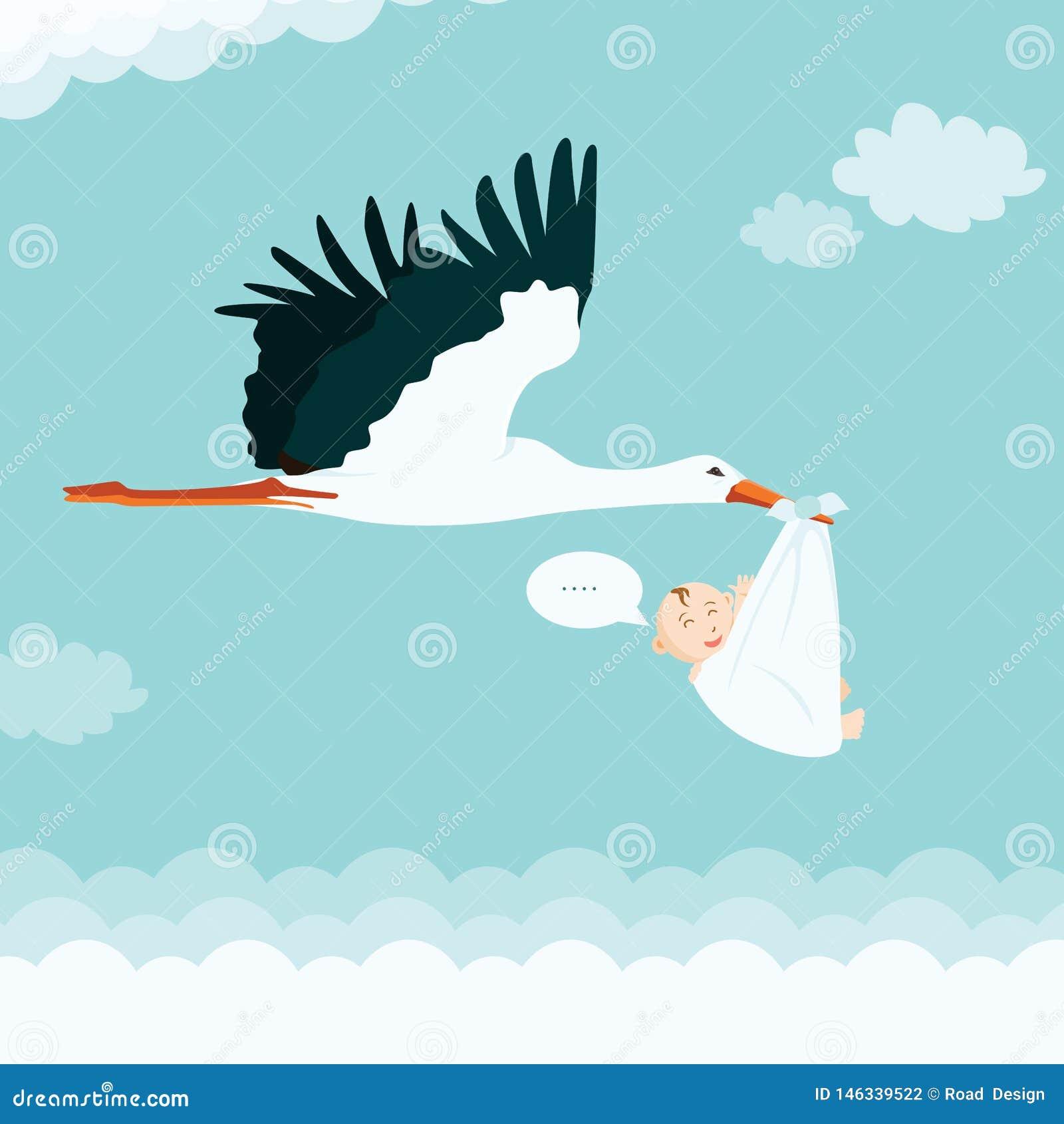 Bambino di trasporto della cicogna del fumetto Illustrazione di vettore della doccia di bambino della cicogna del ragazzo
