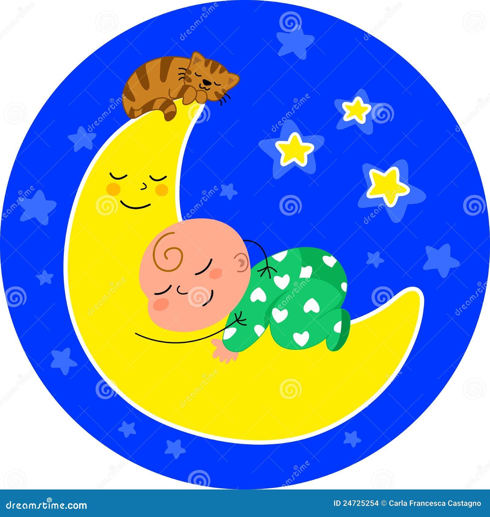 Bambino sveglio che dorme sulla luna con il piccolo gatto