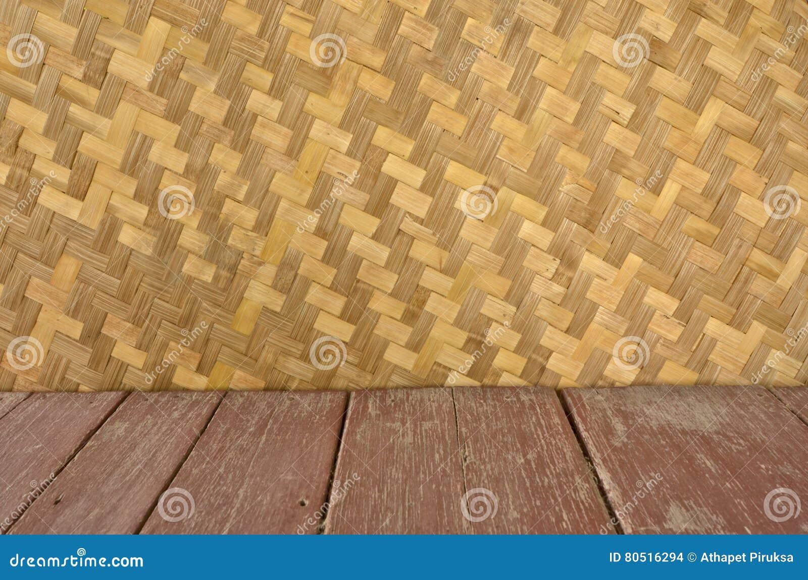 Bamboe Houten Vloer : Bamboe geweven muur en houten bruine vloer stock foto afbeelding