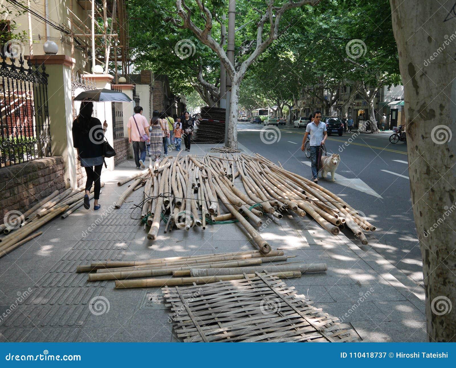 Bamboe voor steiger in Shanghai
