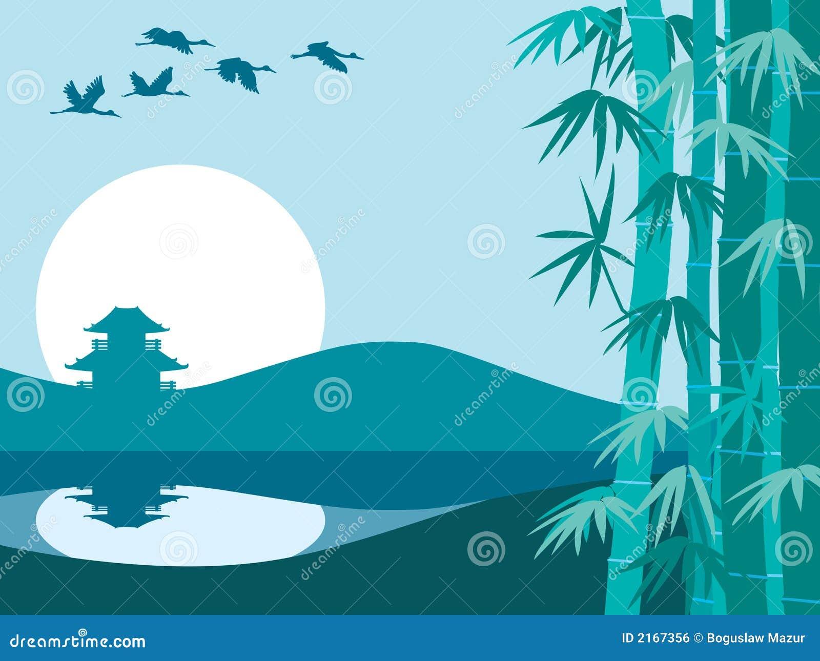 Bamboe, zon en tempel