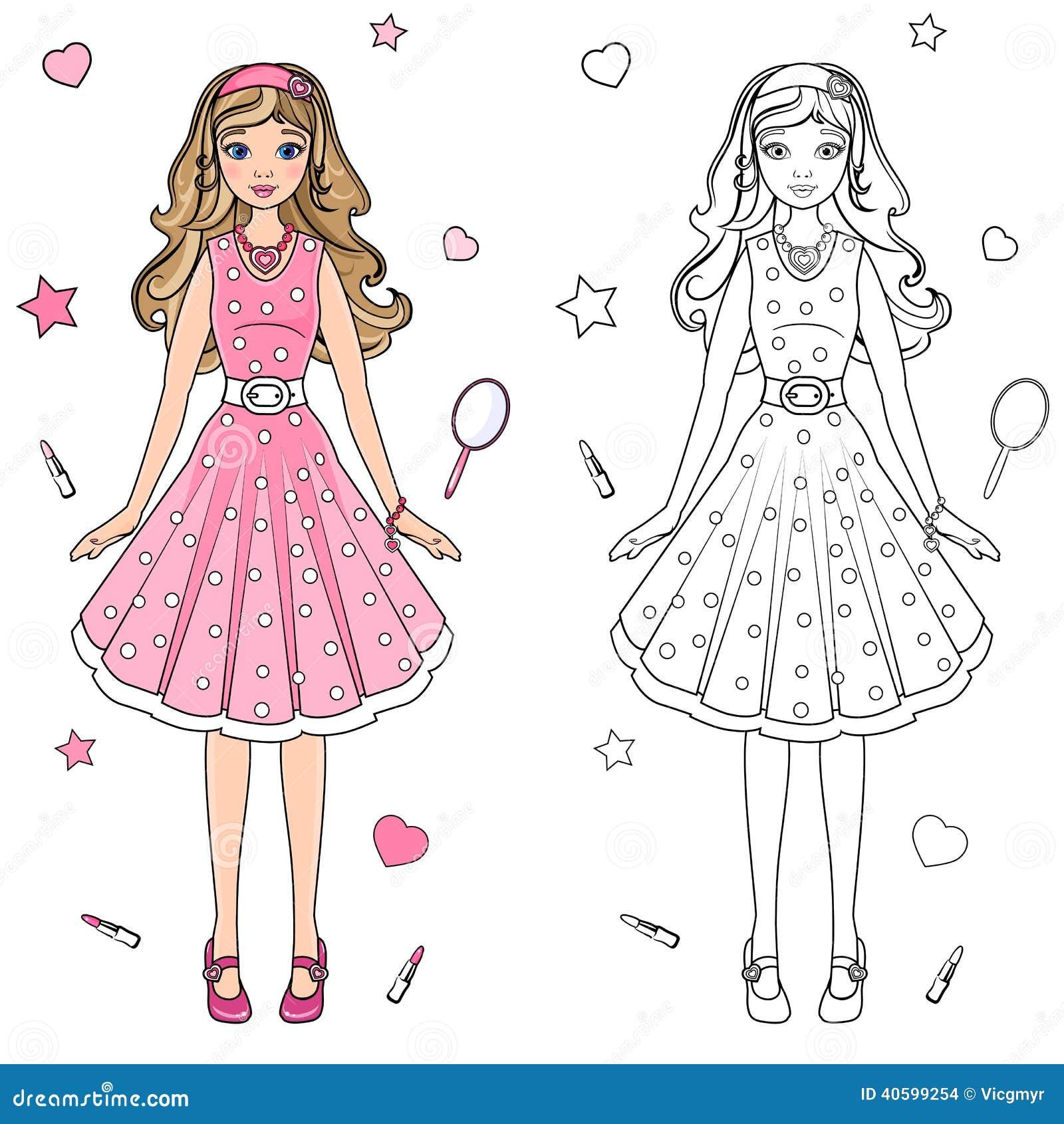 immagini stock bambola del libro da colorare image