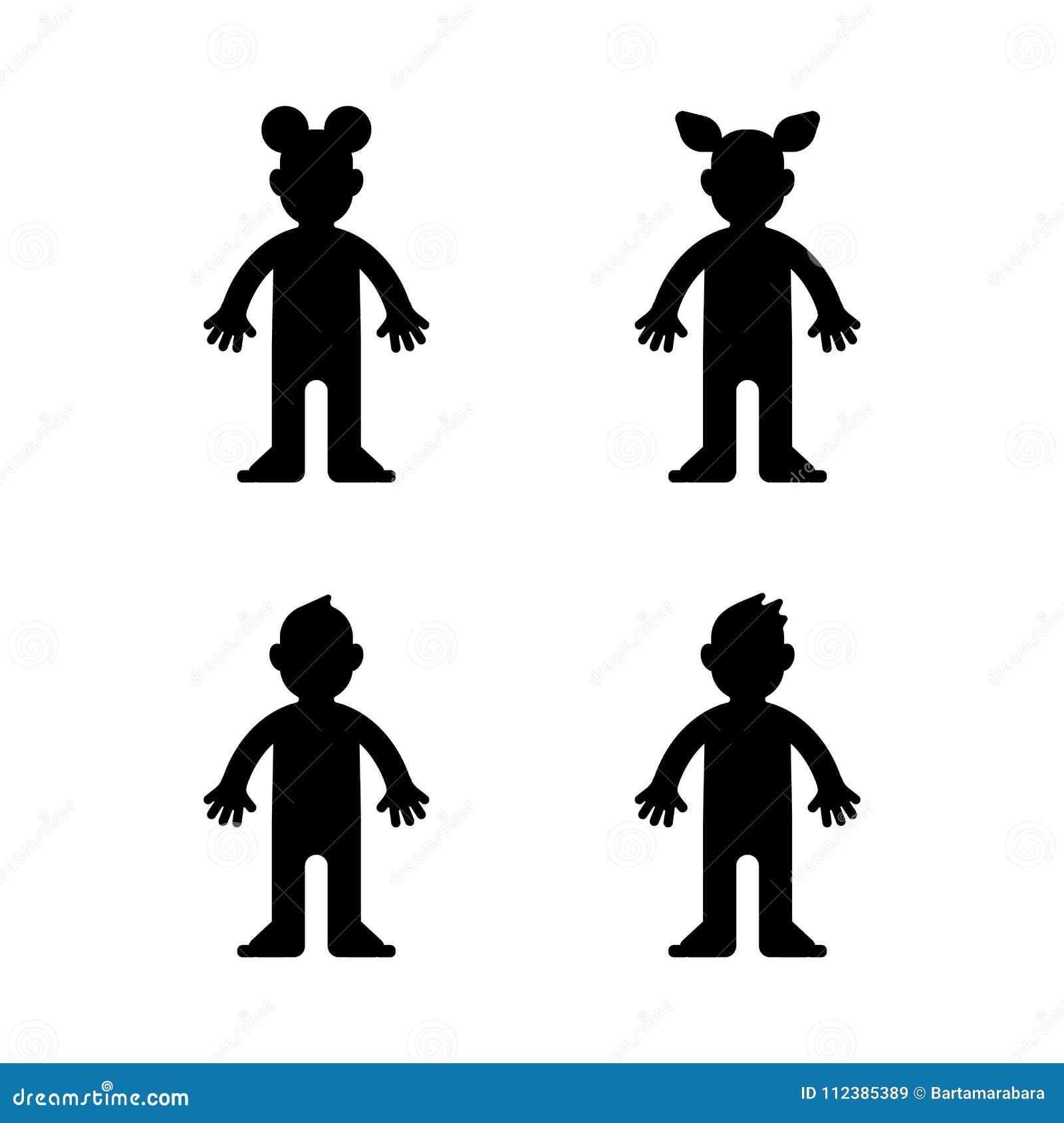 Bambole, ragazzino e ragazza, siluetta nera, isolata Vettore