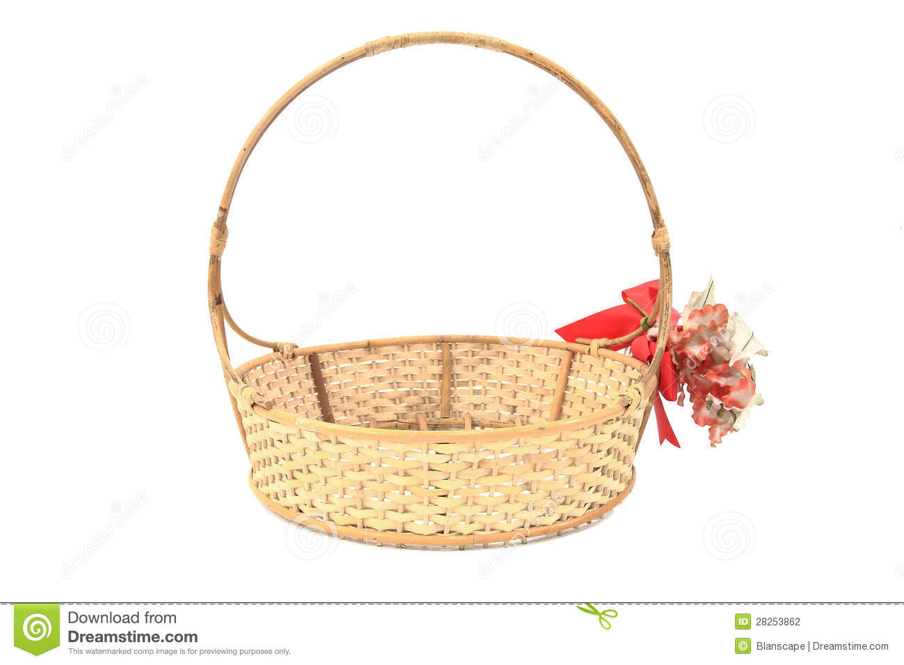 Basket Flower Decoration Bamboo Basket With Red Ribbon And Fake Flower Decoration Stock