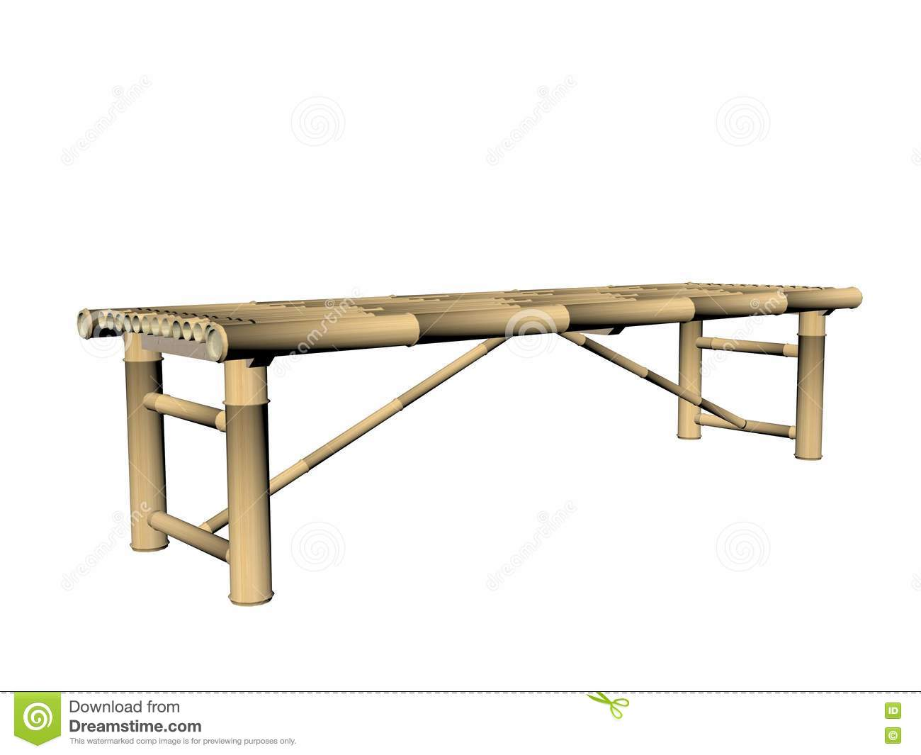 bamboo bench  d render stock illustration  image  - background bamboo bench