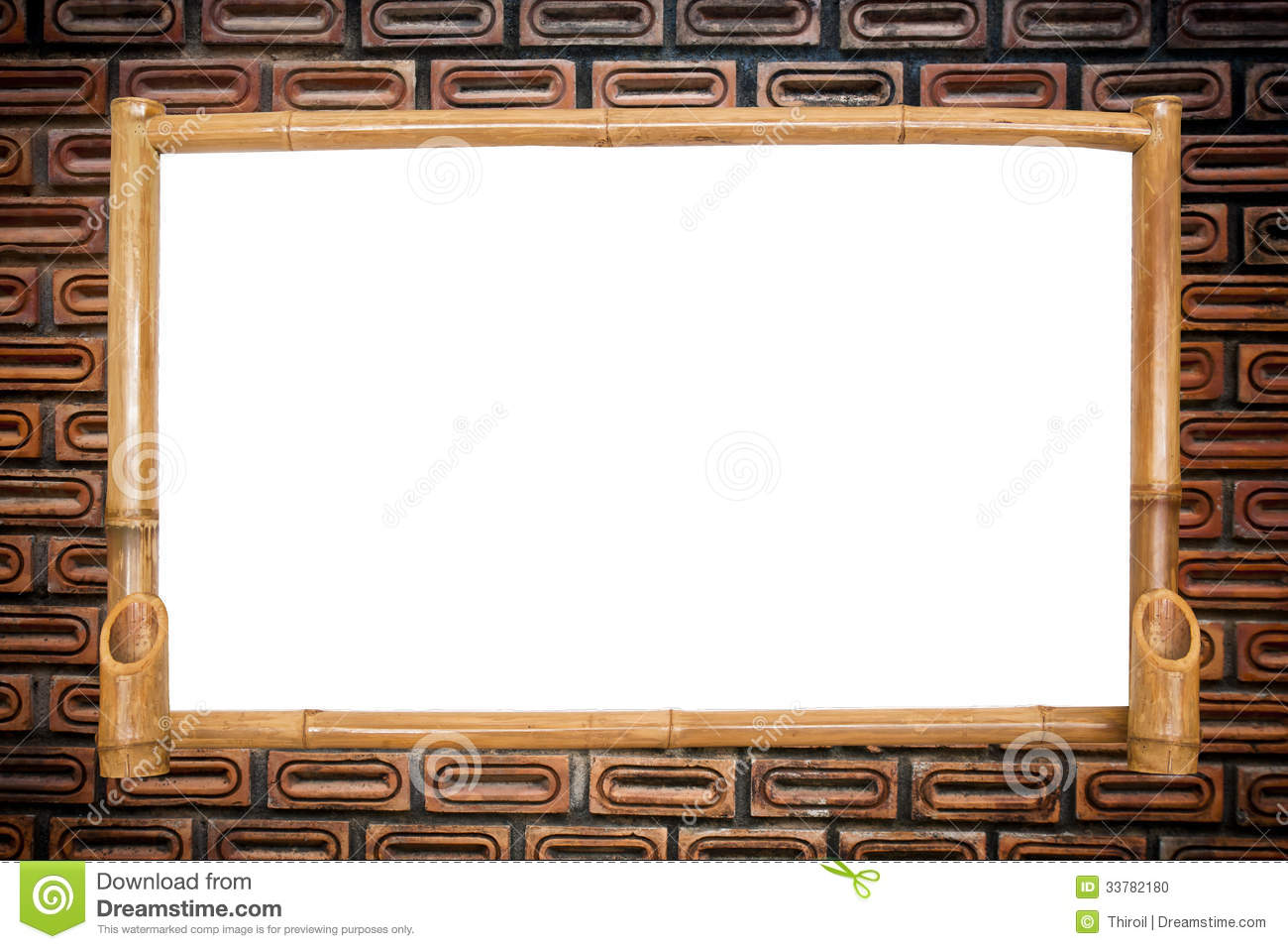 Bamboo Board On Red Brick Wall Background Stock Photo