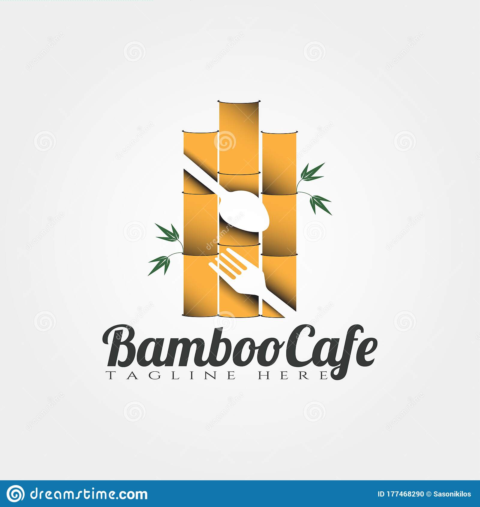Bamboo Cafe And Restaurant Vector Logo Design Food Icon Stock Vector Illustration Of Business Agriculture 177468290