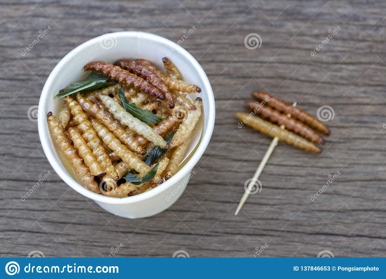 Bamboo edible worm insects crispy or Bamboo Caterpillar in white paper cup on wood table. The concept of protein food sources from