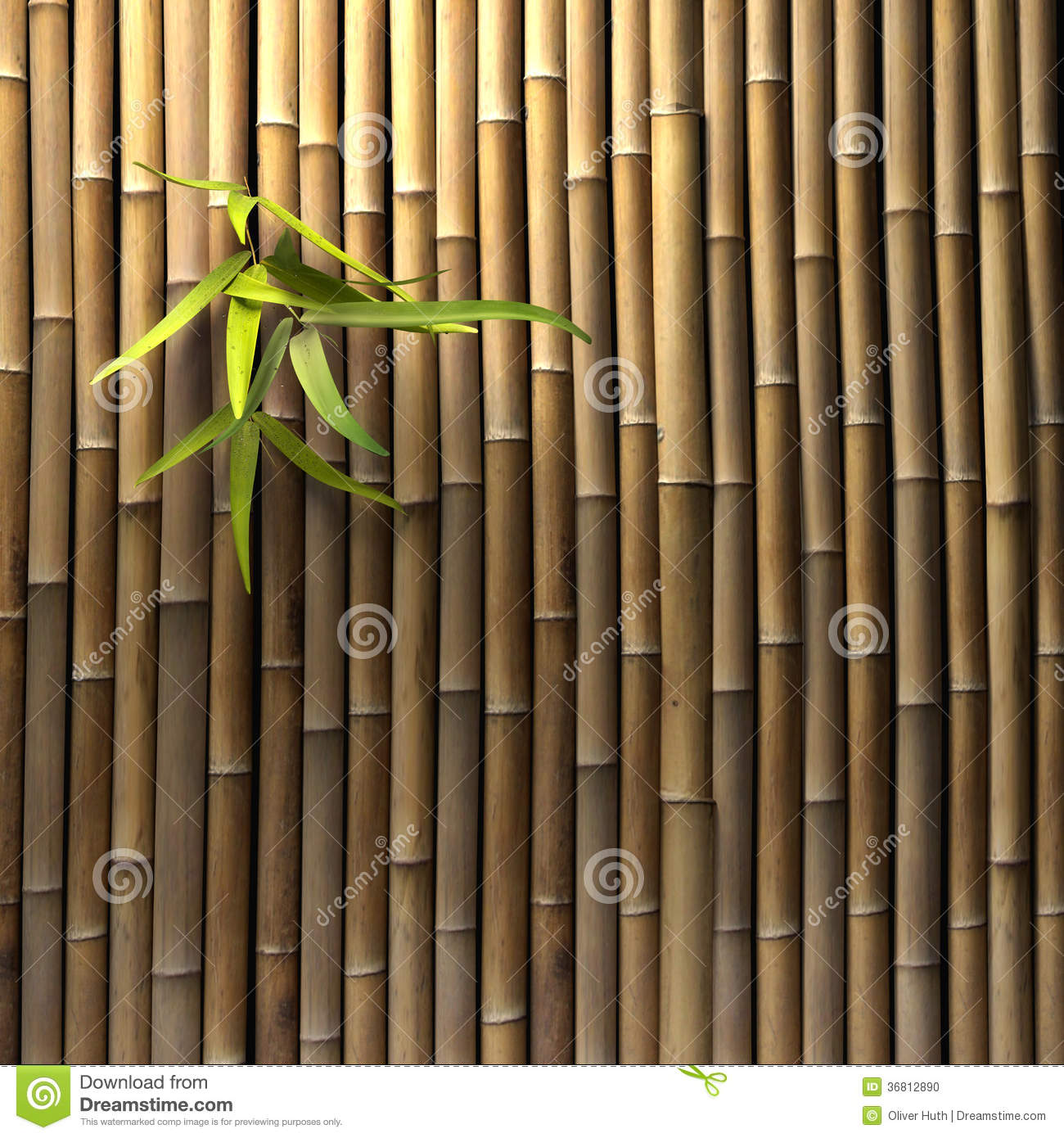 3D render of a Bamboo fence with green leaves.