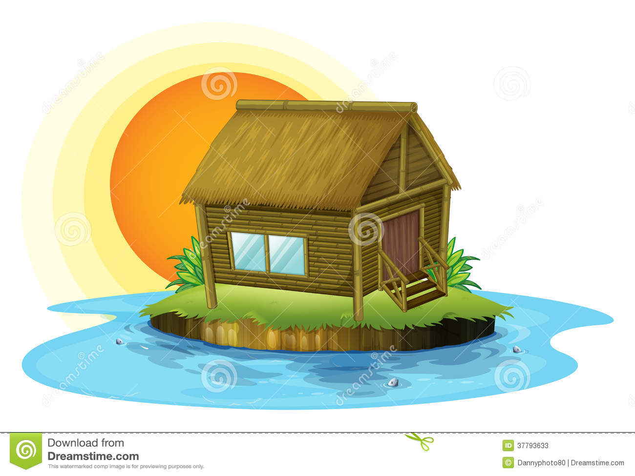 Picture of: A Bamboo House In The Island Stock Vector Illustration Of Graphic Bamboo 37793633