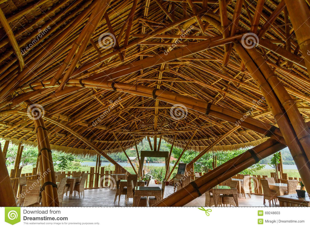 Nature Friendly Bamboo House Design: Bamboo House By The Poso Lake Editorial Stock Photo