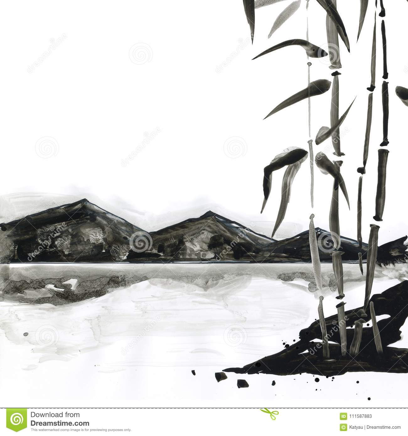 Bamboo in japanese painting style traditional beautiful watercolor hand drawn illustration