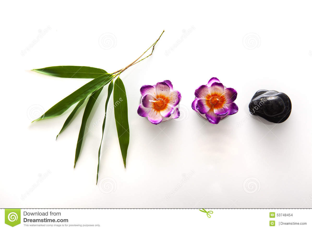Download Bamboo Leaves Candles And Stones Stock Photo - Image of perfect, background: 53748454
