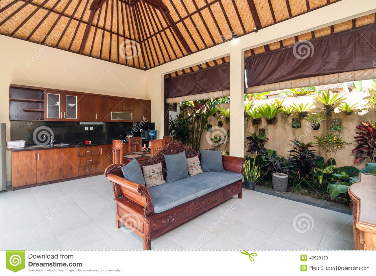 Bamboo Living Room And Kitchen Set. Stock Photo - Image of furniture ...