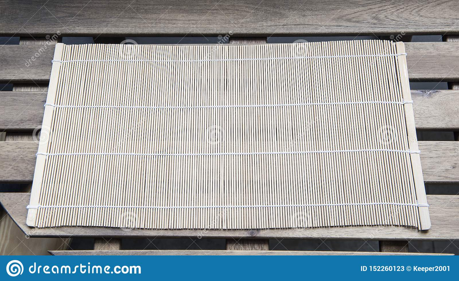 Bamboo mat on a wooden table