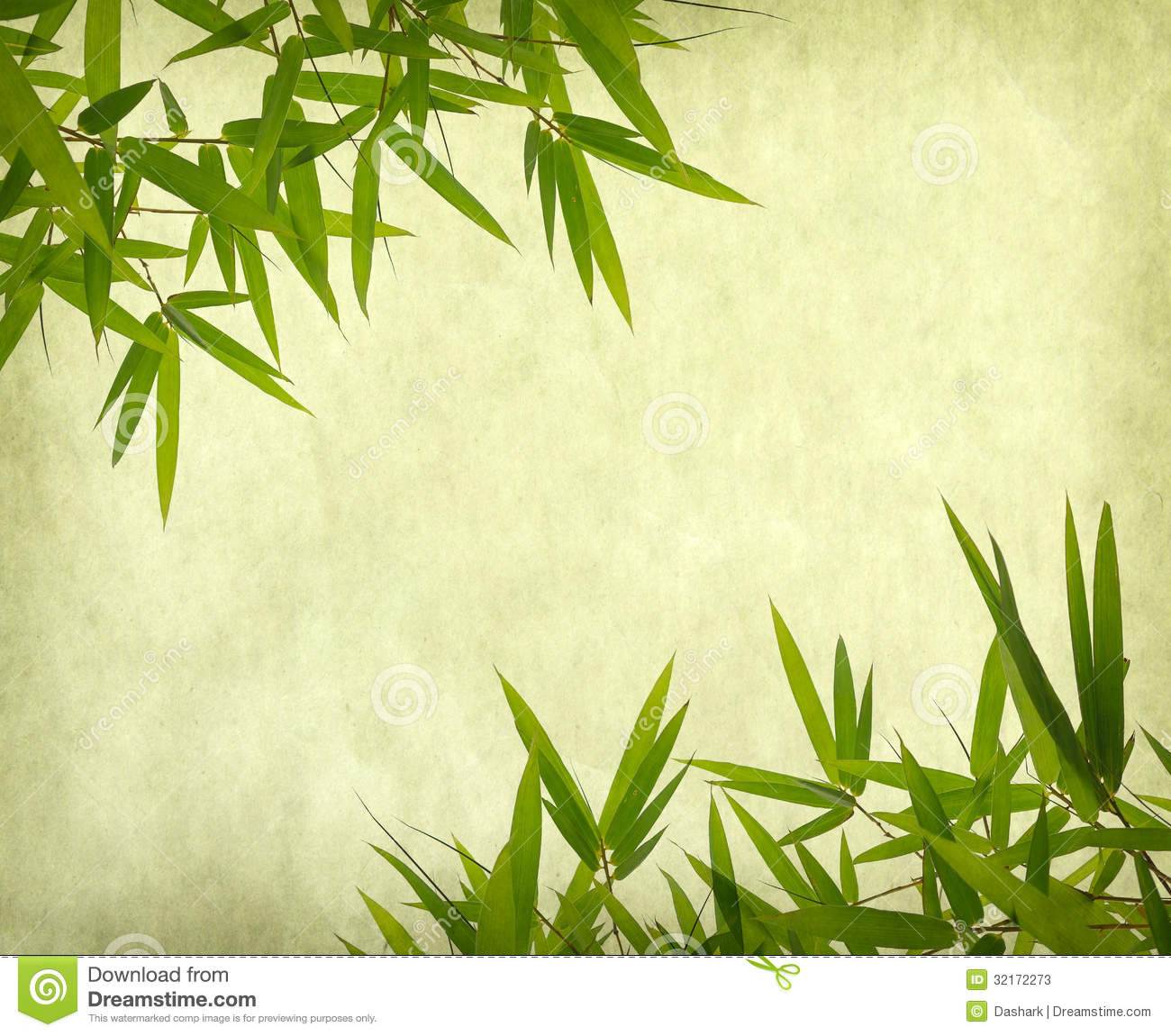 Bamboo On Old Grunge Paper Texture Stock Image Image
